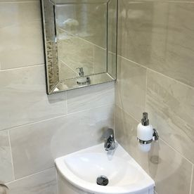 Stone Heat Ltd - Bathrooms - Cloak Room - Bathroom Installation - Mirror and Sink - Loughton